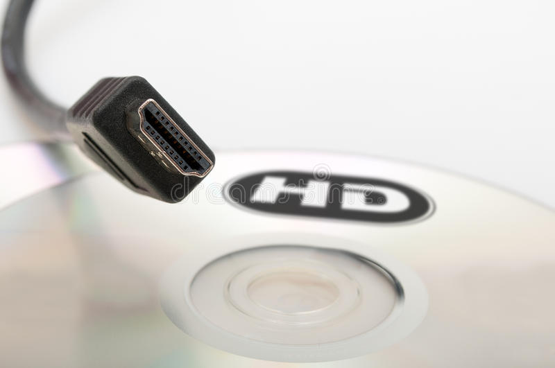 High Definition. HDMI Cable and Blank DVD Disc stock photo