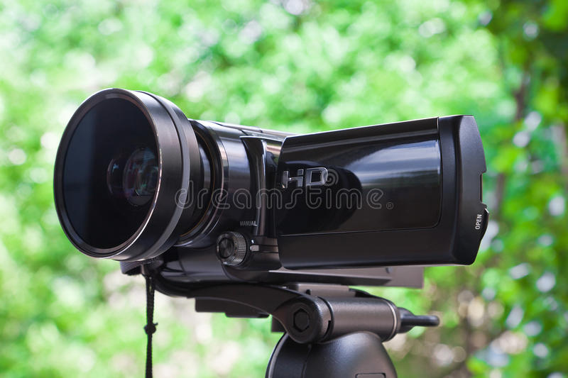 High definition camcorder. Close view of high definition camcorder outdoors stock images