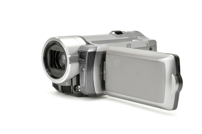 High-definition camera. Isolated on a white stock photography