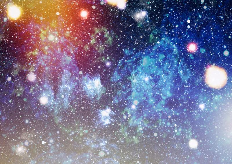 Blue dark night sky with many stars. Milky way on the space background. High definition star field background . Starry outer space background texture . Colorful vector illustration