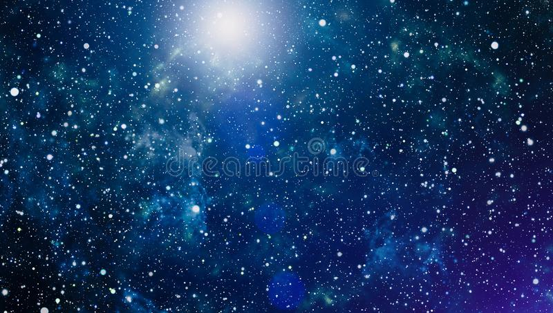 Blue dark night sky with many stars. Milky way on the space background. High definition star field background . Starry outer space background texture . Colorful stock illustration