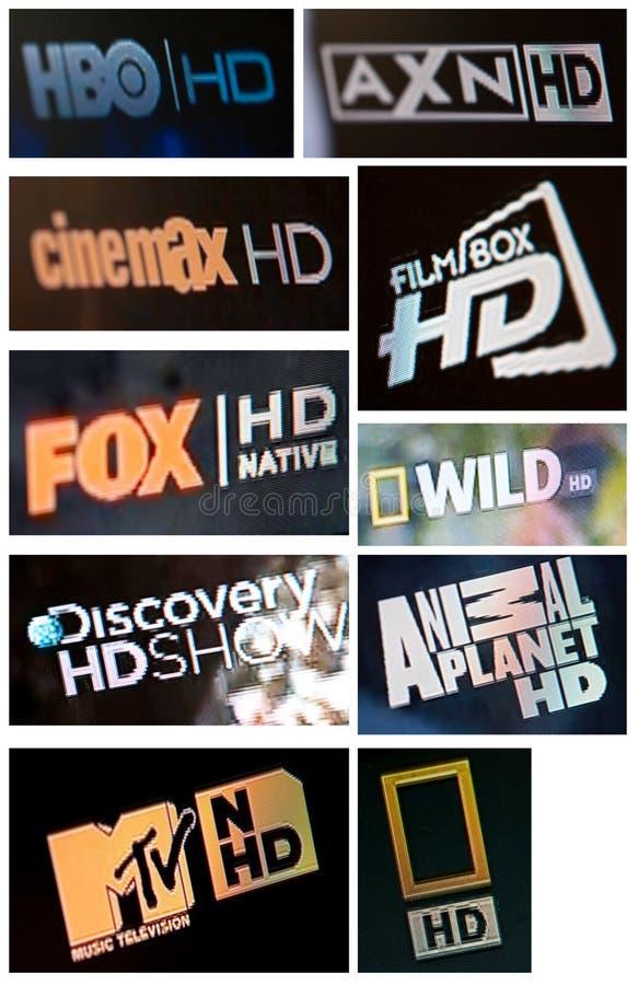 High Definition TV channels. Set of popular television HD (high definition) channels stock photography