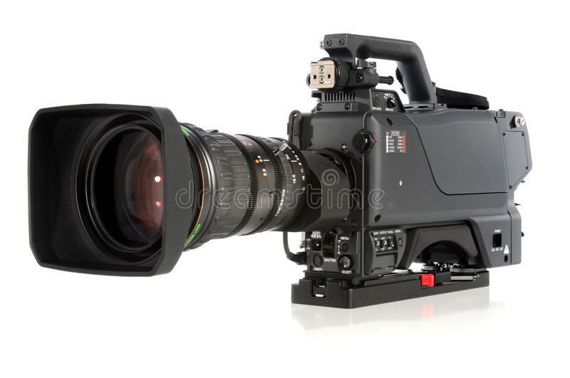High Definition Video Camera. Isolated over white background royalty free stock images
