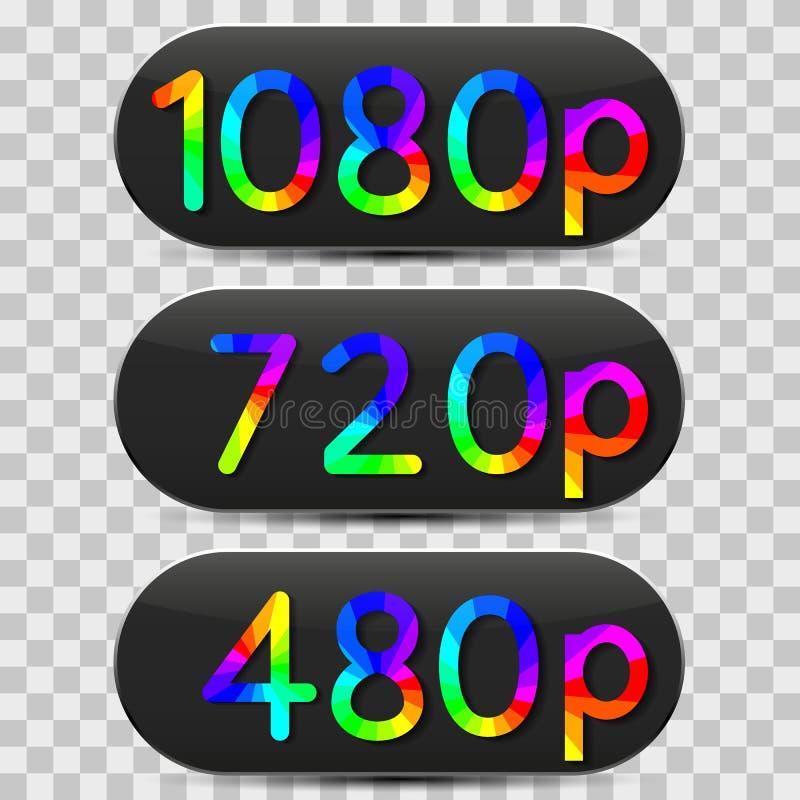 High-definition video sign, vector illustration. High-definition video sign isolated on grey background, design of digital devices, vector illustration stock illustration