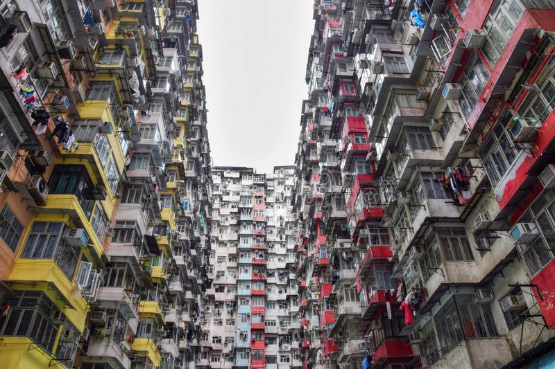 High density old residential building in Hong Kong. royalty free stock photography