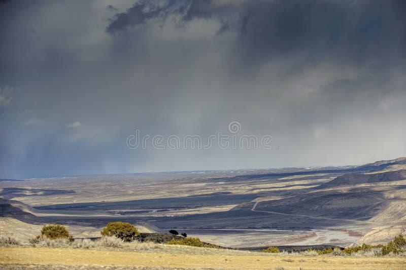 High desert Colorado. High desert scenery with impending storm, Sand Wash Basin, Colorado, USA royalty free stock photos