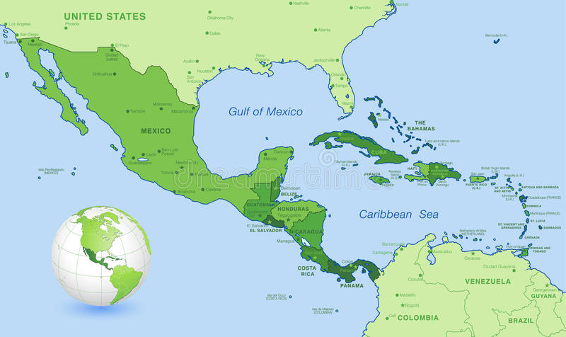 High Detail Central america Green vector Map Set vector illustration