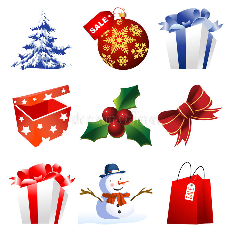 High detail christmas icons royalty free illustration