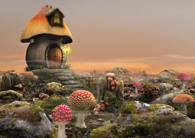 Magical Fairy Mushroom House Fantasy stock illustration