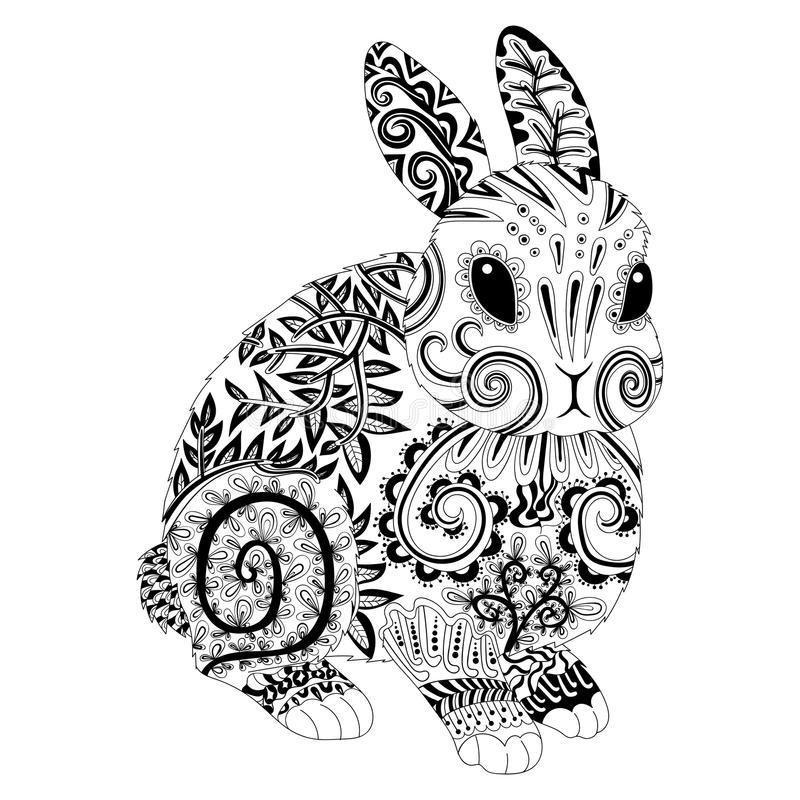 High detail patterned rabbit in zentangle style. stock illustration