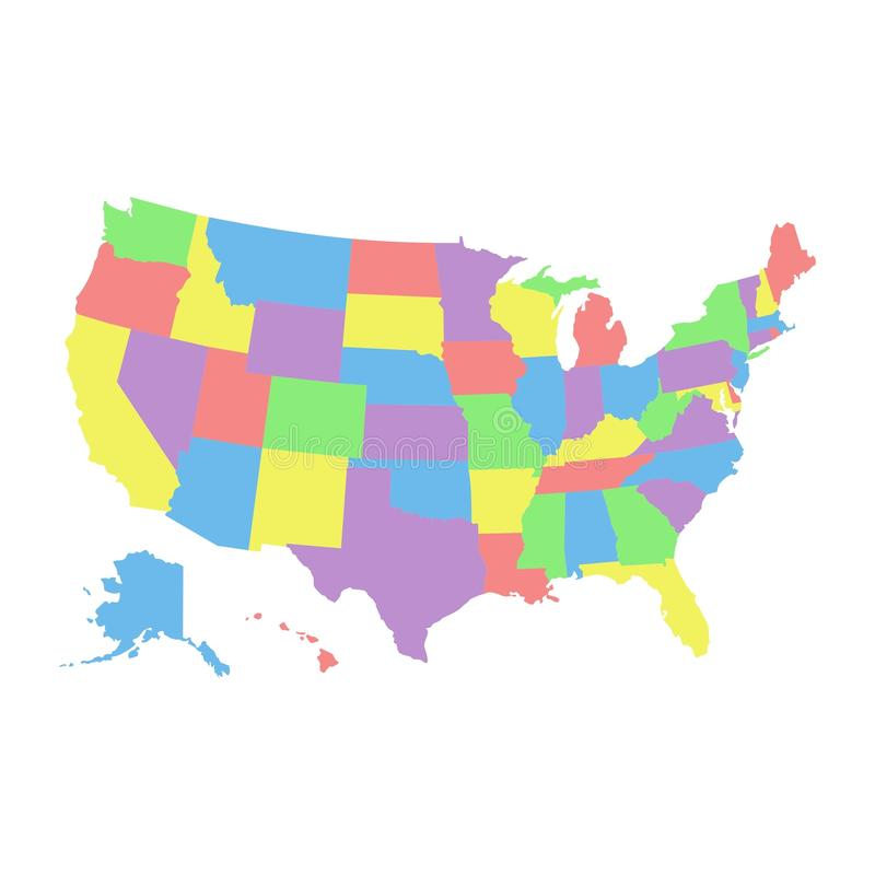 High detail USA map with different colors for each country. United States of America map. america usa federal states map vector illustration