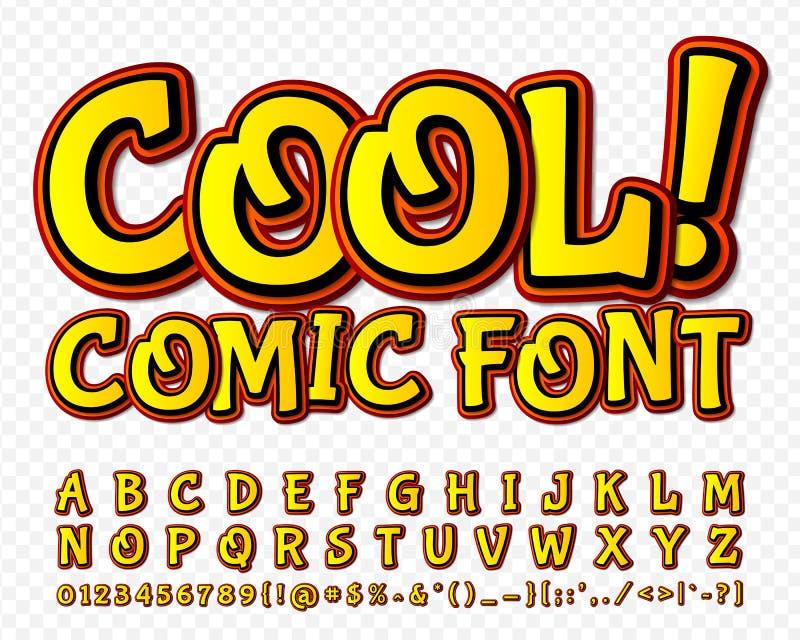 High detail yellow comic font. Alphabe, comics, pop art. vector illustration