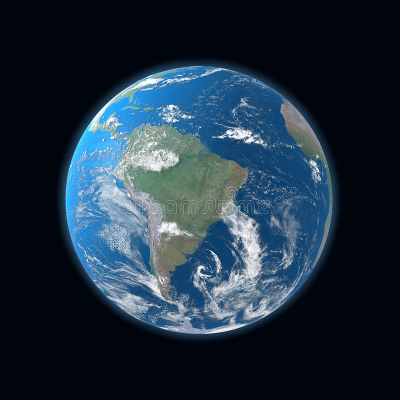 High detailed Earth map, South America. High detailed Earth map, South and Central America royalty free stock images