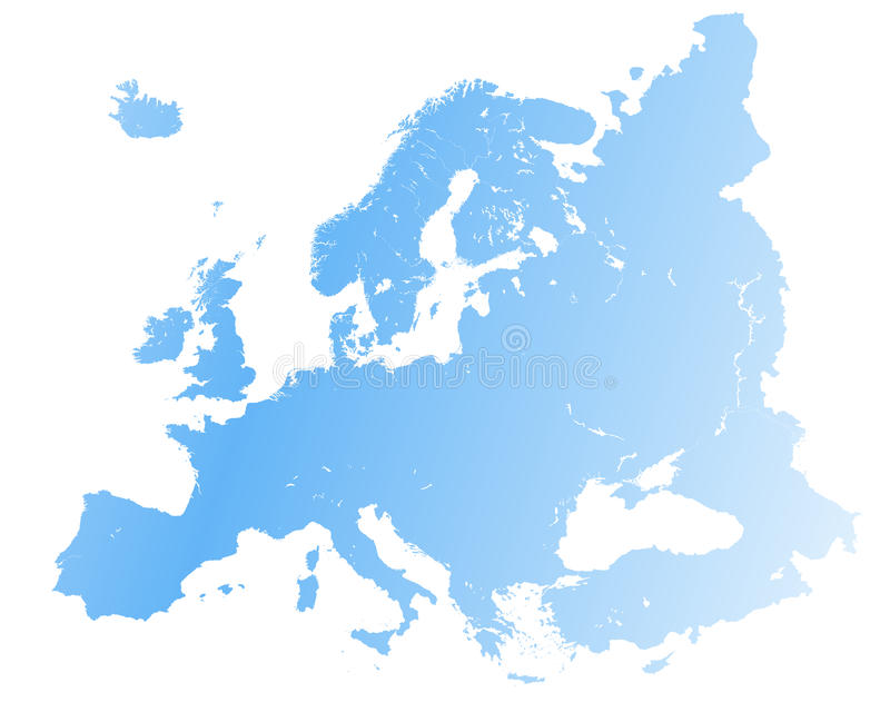 High detailed Europe map. Vector stock illustration