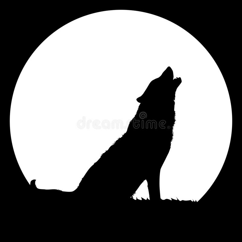 Howling wolf. High detailed illustration of a wolf howling at the big full moon. Full editable high quality eps vector file available vector illustration