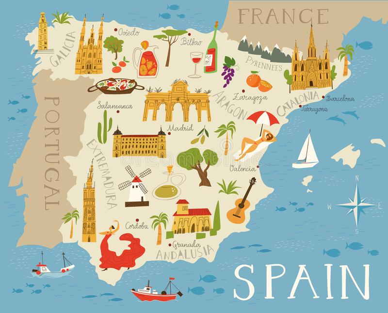 High detailed map of Spain stock illustration