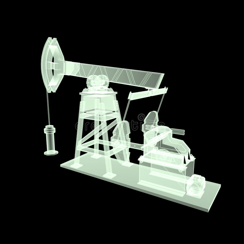 High detailed x-ray pump-jack, oil rig. isolated rendering. fuel industry, economy crisis illustration. High detailed x-ray oil pump-jack, oil rig. isolated 3d stock image