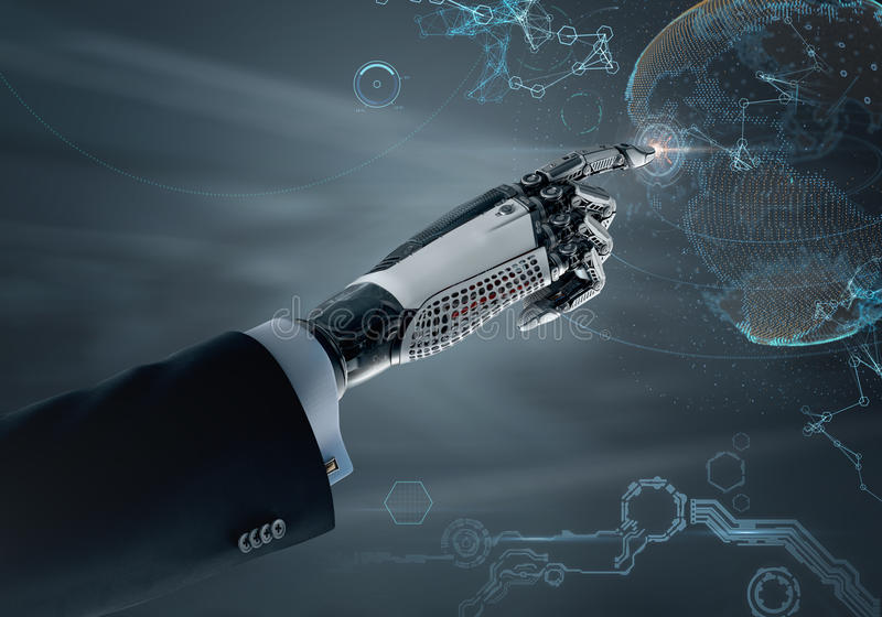 High detailed robotic hand in business suit pointing with index finger. High detailed robotic hand in business suit touching virtual point with index finger royalty free illustration