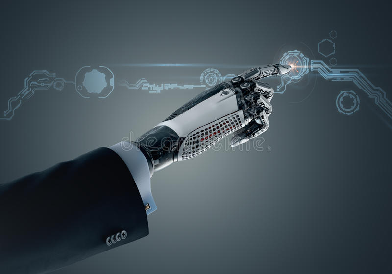 High detailed robotic hand in business suit pointing with index finger. High detailed robotic hand in business suit touching virtual point with index finger vector illustration