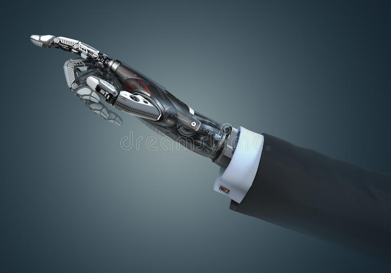 High detailed robotic hand in business suit pointing with index finger. High detailed robotic hand in business suit touching virtual point with index finger stock illustration