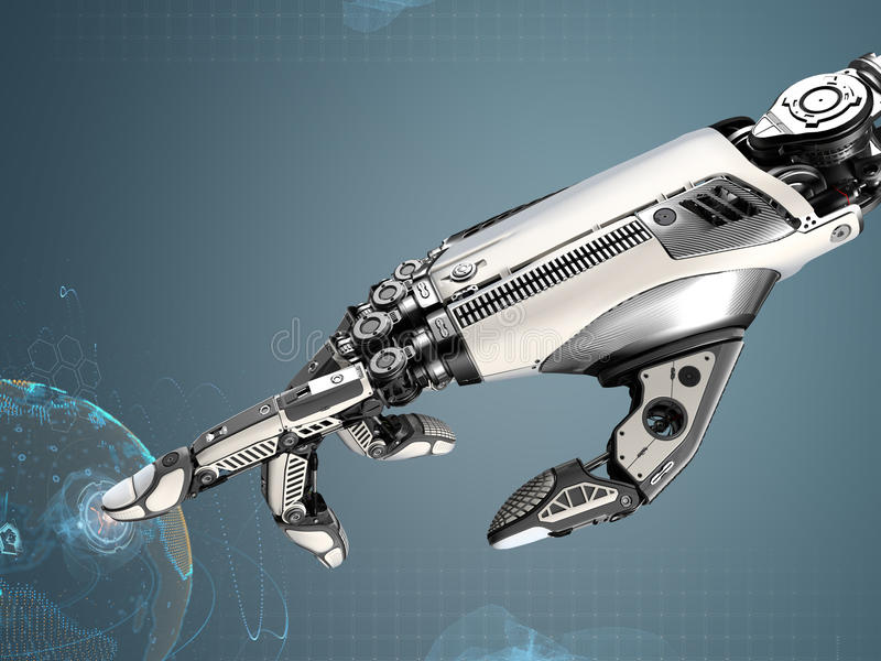 High detailed robotic hand touching virtual point with index finge. R. Bionic technology in digital world stock illustration