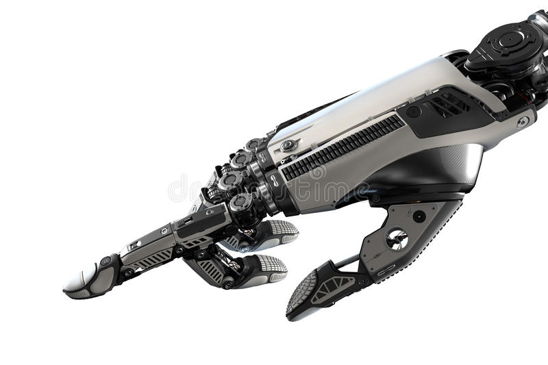 High detailed Robotic hand touching virtual point with index finge. R. Bionic technology in digital world mage on white background royalty free illustration