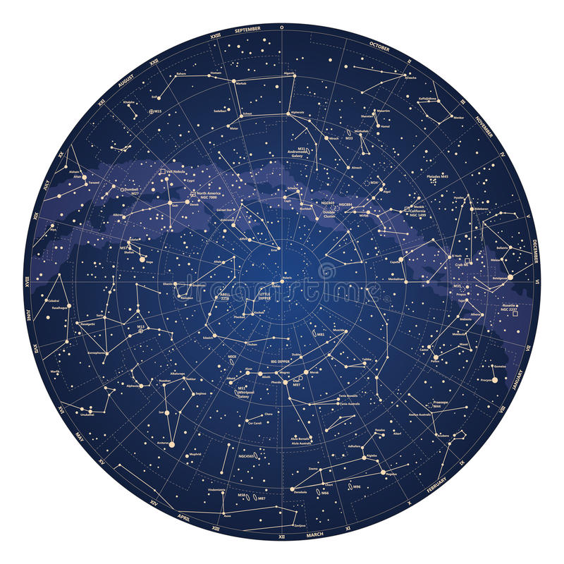 High detailed sky map of Northern hemisphere with names of stars. And constellations colored on white royalty free illustration
