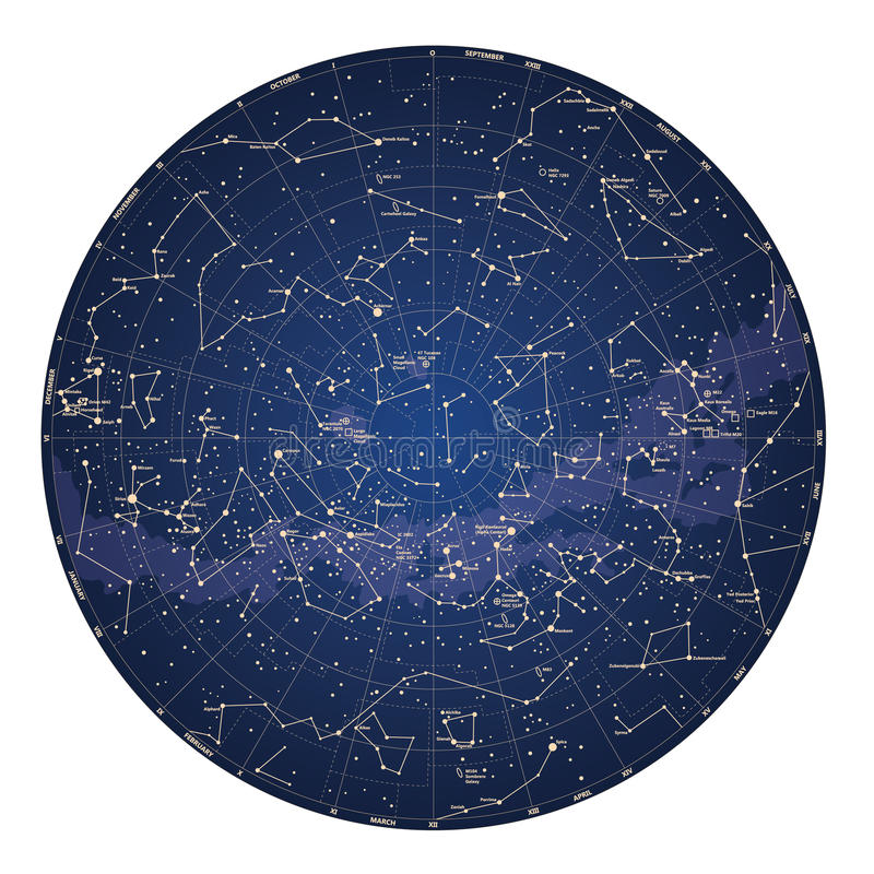 High detailed sky map of Southern hemisphere with names of stars vector illustration