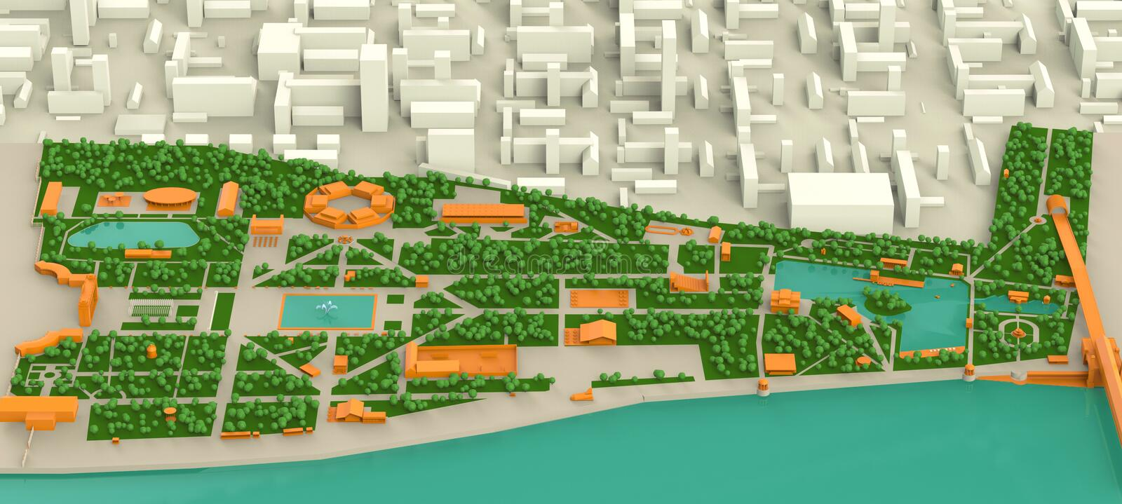 High Detailed Three Dimensions Map Of Moscow Gorky Park And Stock