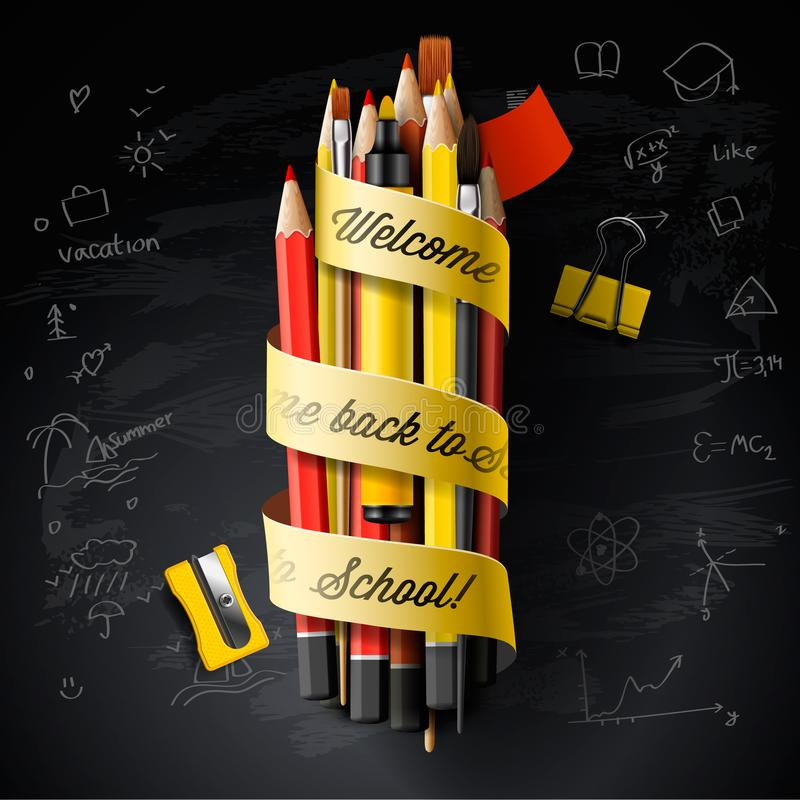High detailed vector design template for Back to school. Black chalkboard, pencils, pen, and Welcome Back to School text stock illustration