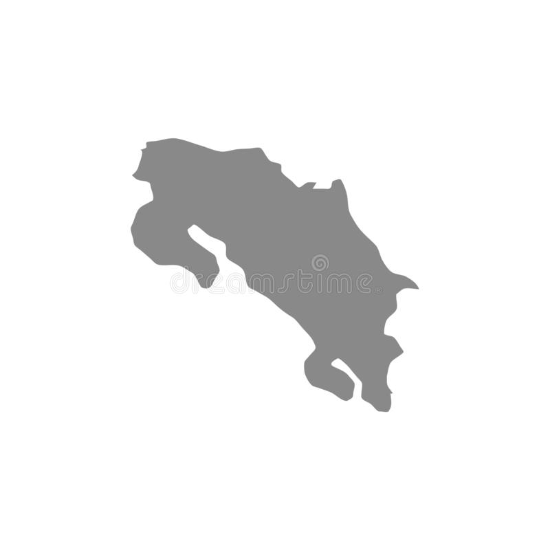 High detailed vector map - Costa Rica stock illustration