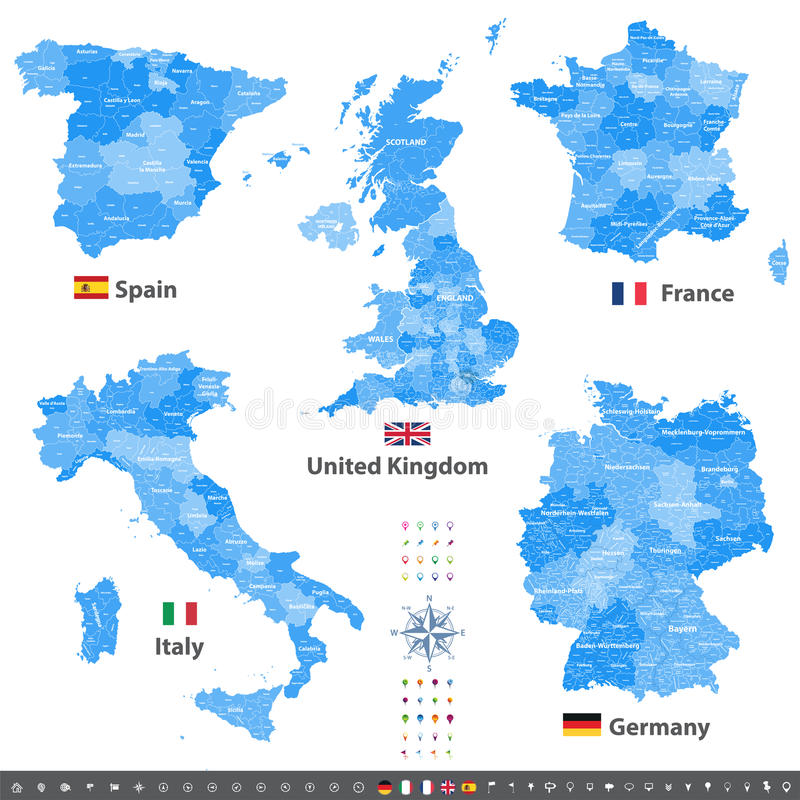 High Detailed Vector Maps Of United Kingdom Italy Germany France