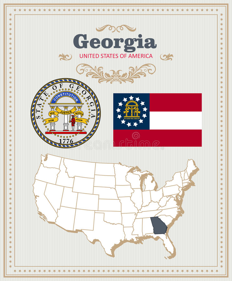 High detailed vector set with flag, coat of arms Georgia. American poster. Greeting card vector illustration