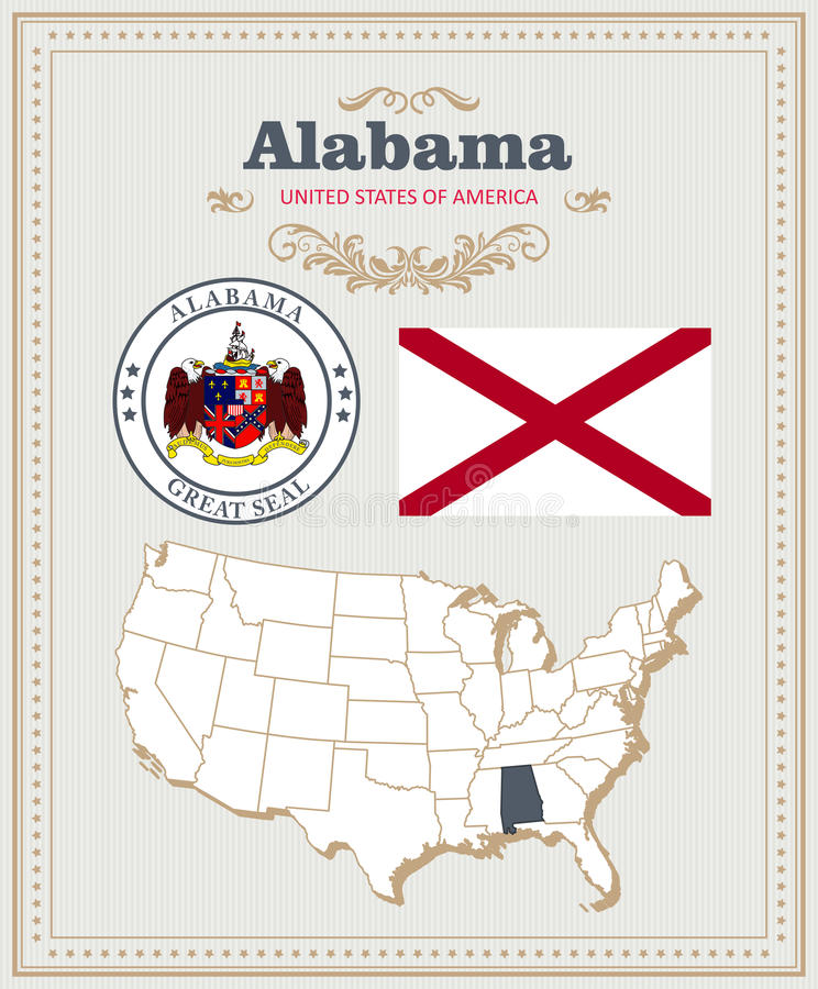 High detailed vector set with flag, coat of arms, map of Alabama. American poster. Greeting card. From United States of America. Colorful design stock illustration