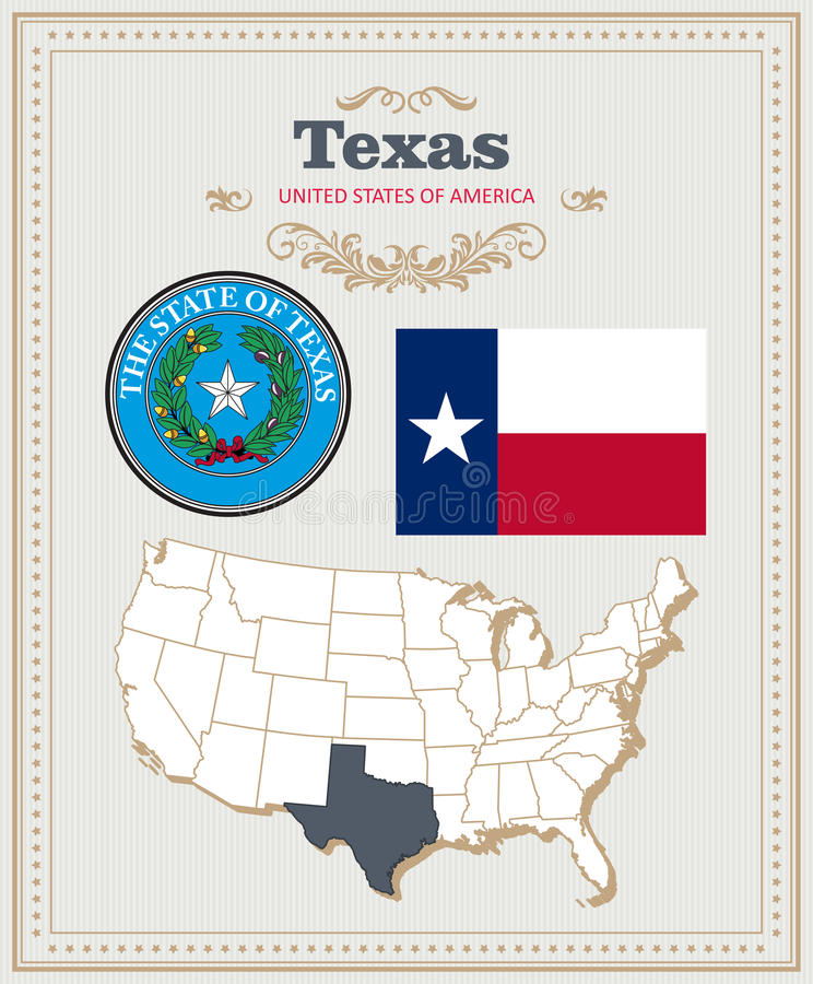 High detailed vector set with flag, coat of arms Texas. American poster. Greeting card. High detailed vector set with flag, coat of arms, map of Texas. American royalty free illustration
