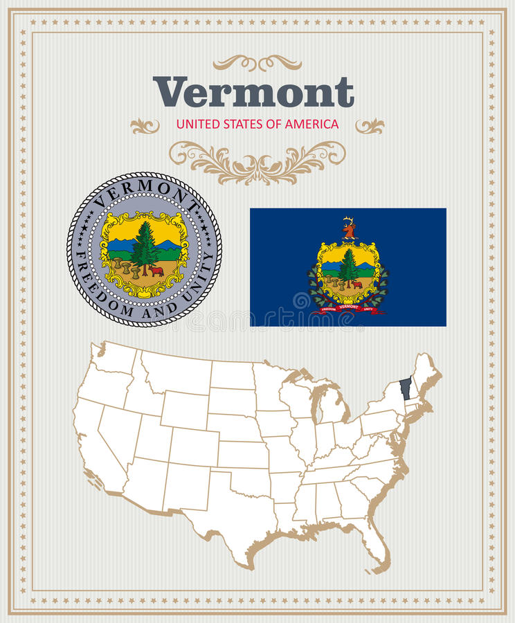 High detailed vector set with flag, coat of arms Vermont. American poster. Greeting card royalty free illustration