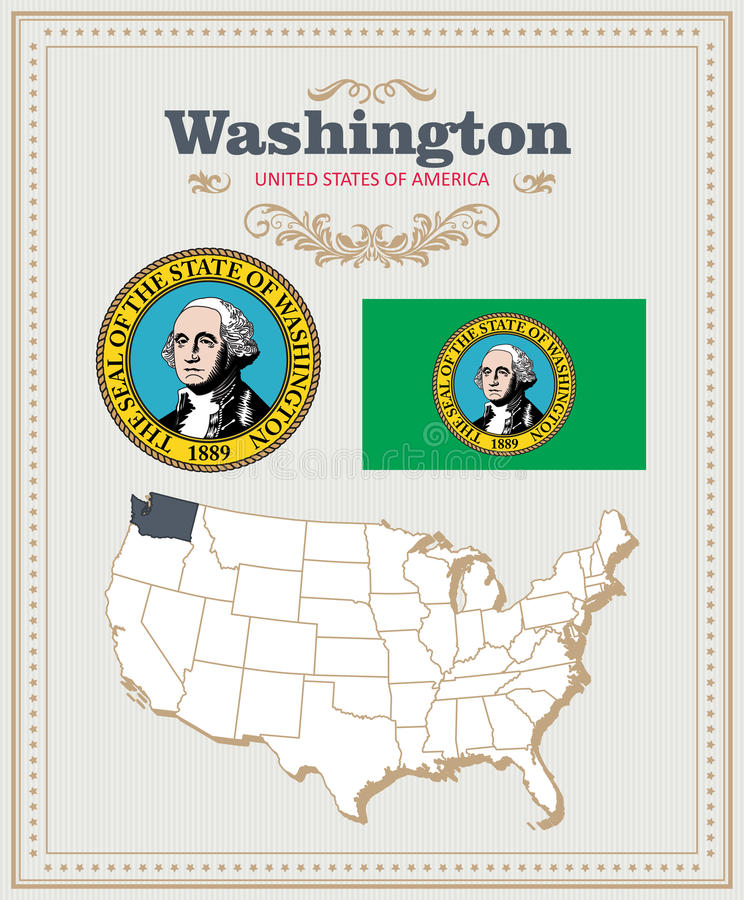 High detailed vector set with flag, coat of arms Washington. American poster. Greeting card vector illustration