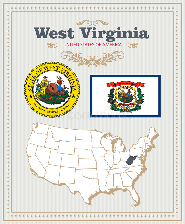 High detailed vector set with flag, coat of arms West Virginia. American poster. Greeting card stock illustration