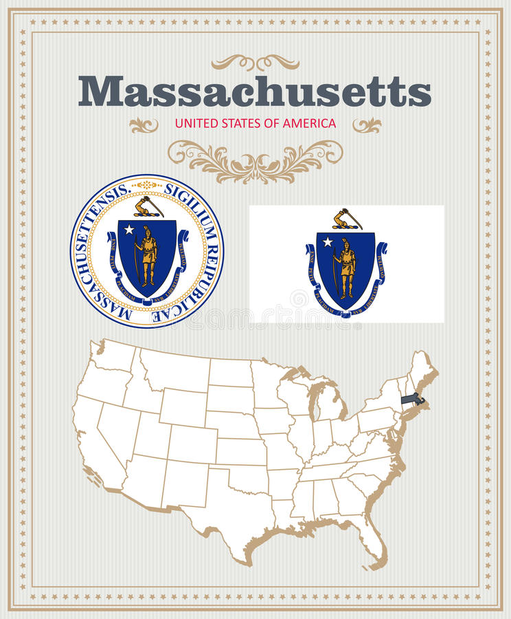 Free High Detailed Vector Set With Flag, Coat Of Arms, Map Of Massachusetts. American Poster. Greeting Card Royalty Free Stock Photo - 86013475