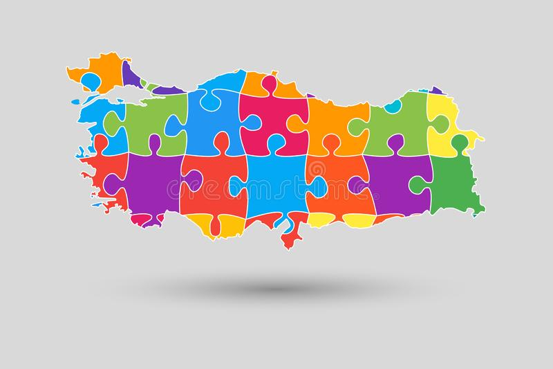 Turkey country map with puzzle pieces vector royalty free illustration