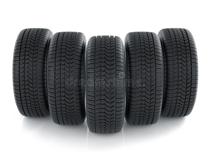 High detaled tyres on white background. 3d render of high detaled tyres on white background stock illustration