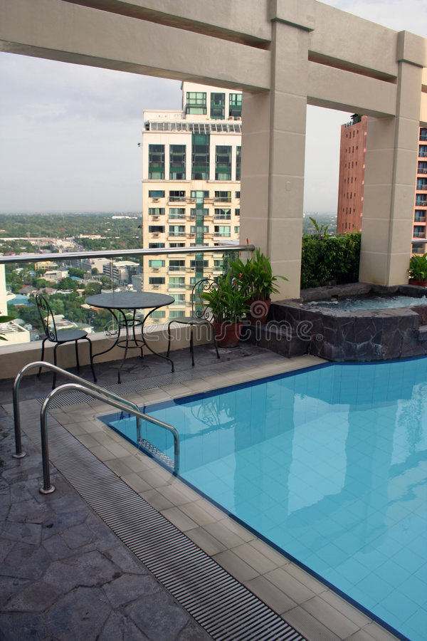 High dive rooftop swimming pool manila city stock image