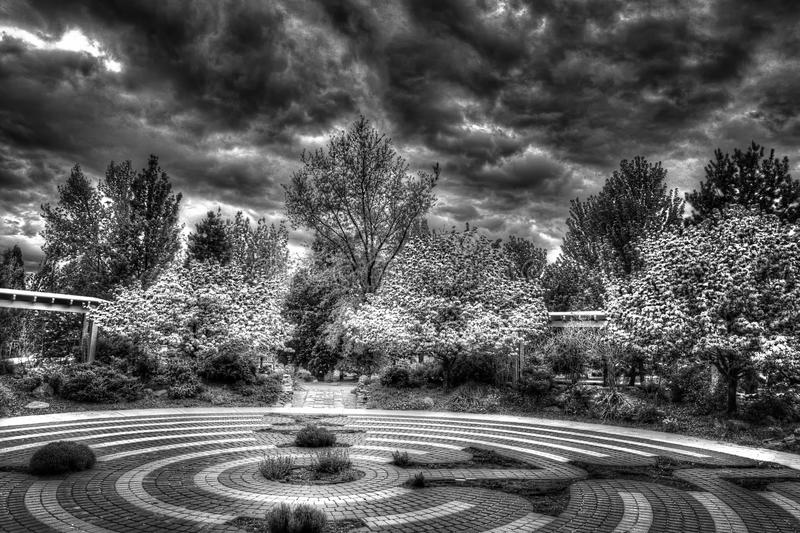Labrynth and storm at a park royalty free stock photography