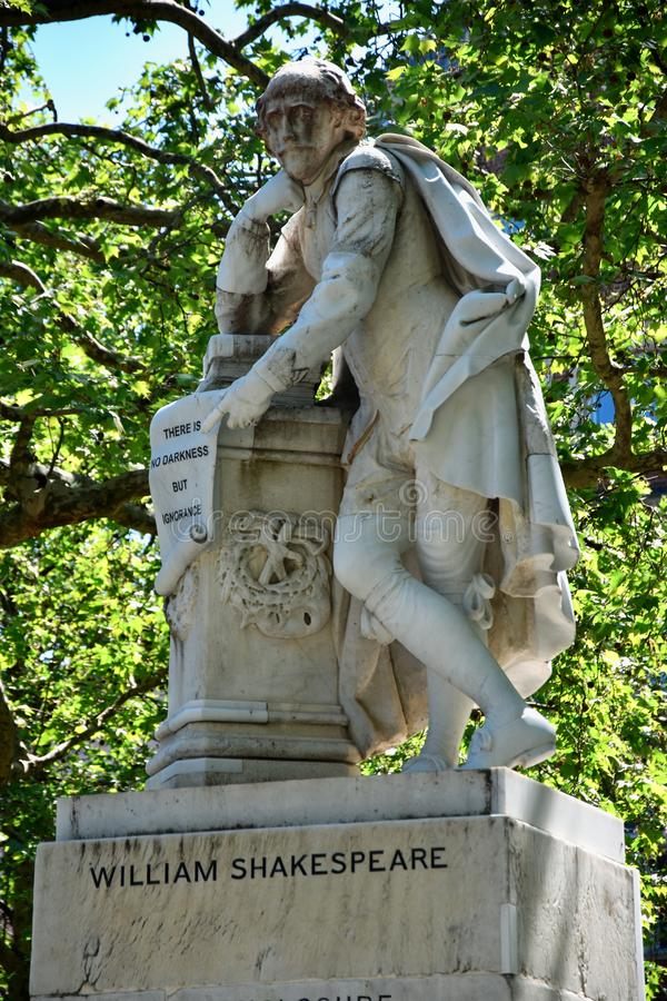 High dynamic range HDR Statue of William Shakespeare built in 1874 in Leicester Square in London, UK stock images