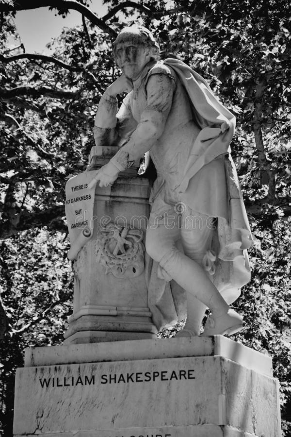 High dynamic range HDR Statue of William Shakespeare built in 1874 in Leicester Square in London, UK.  royalty free stock image