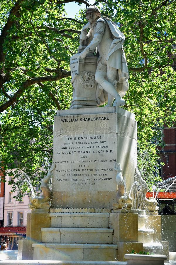 High dynamic range HDR Statue of William Shakespeare built in 1874 in Leicester Square in London, UK royalty free stock photography