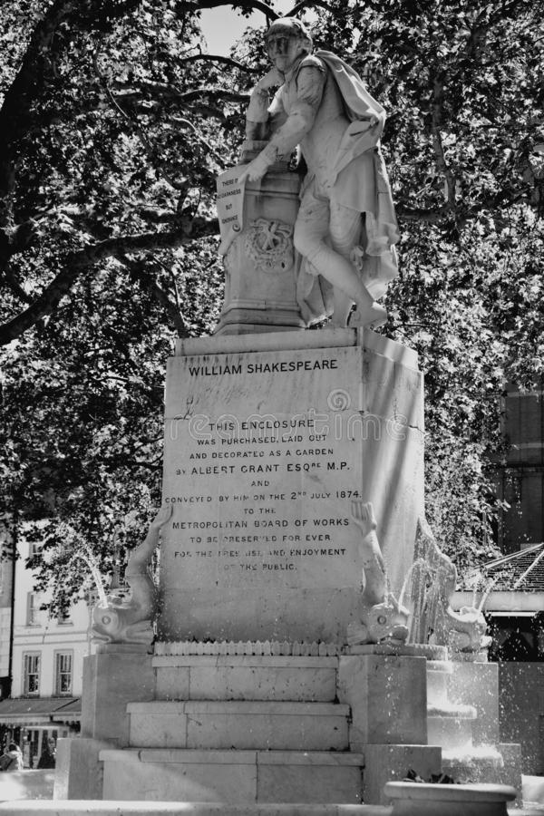 High dynamic range HDR Statue of William Shakespeare built in 1874 in Leicester Square in London, UK royalty free stock photos