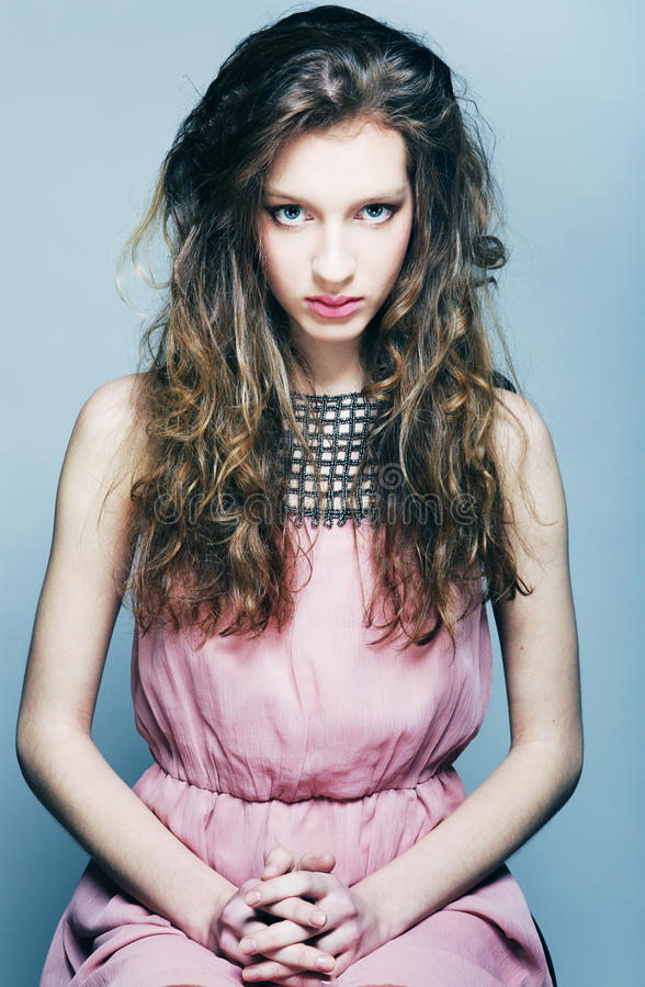 Download High-End Fashion Model With Curly Hair Stock Images - Image: 37256064