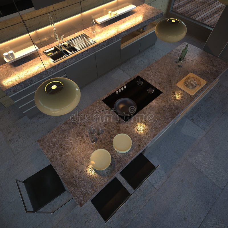 High-end kitchen (night) stock illustration