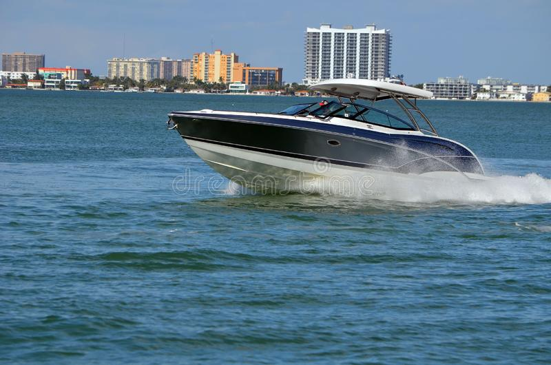 Upscale Motorboat on the Florida Intra-Coastal Waterway stock images